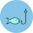 fish, fishing, rod, sea food icon