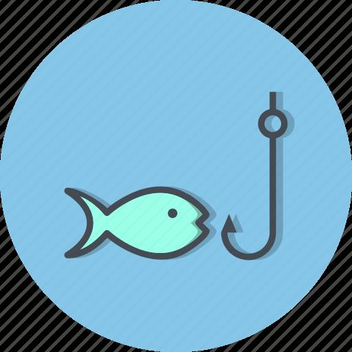 fish, fishing, rod, sea food icon