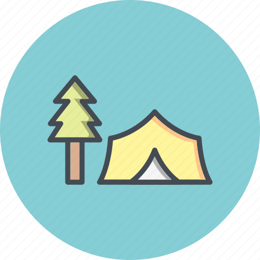 camp, forest, outdoor, tent icon