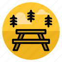 area, camping, food, forest, picnic, picnic table, travel icon