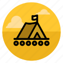 boat, camp, camping, outdoor, raft, river, tent icon