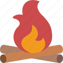 camping, fire, leisure, outdoors, recreation, travel icon