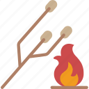 camping, leisure, marshmellows, outdoors, recreation, travel icon