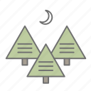 forest, hiking, moon, nature, outdoors, recreation, trees icon
