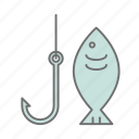 fish, fish hook, fishing, nature, outdoors, recreation, sport icon