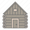 forest, hiking, log cabin, nature, outdoors, recreation, vacation icon