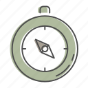 camping, compass, directions, hiking, nature, outdoors, recreation icon