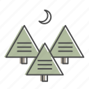 camping, forest, moon, nature, outdoors, trees, woods icon