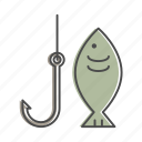 fish, fishing, fishing hook, nature, outdoors, recreation, river icon