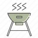 camping, cooking, food, grill, hibachi, outdoors, recreation icon