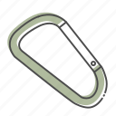 camping, carabiner, hiking, hook, nature, outdoors, recreation icon