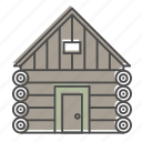 camping, hiking, log cabin, nature, outdoors, recreation, woods icon