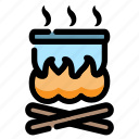 boiling, bonfire, camping, cooking, fire, holiday, outdoor icon