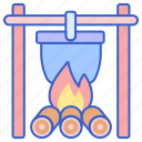 campfire, cooking, pot icon