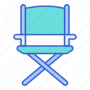 camping, chair, director's icon
