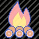 bonfire, fire, wood icon