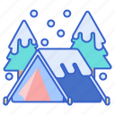 camping, snow, winter icon