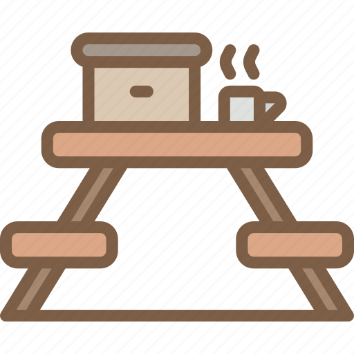 bench, camping, leisure, outdoors, picnic, recreation, travel icon