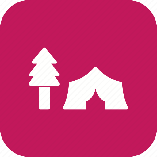 camp, camping, tent, trees icon