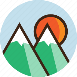 camping, climbing, landscape, mountains, nature, snow, sun icon
