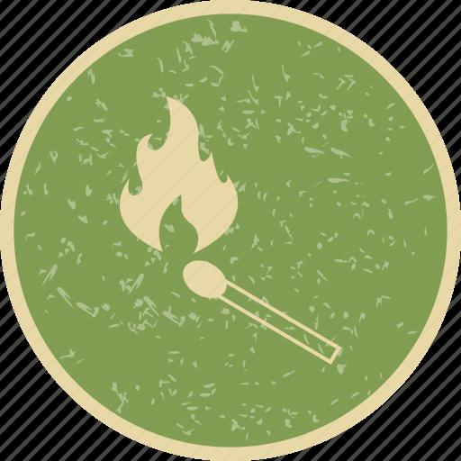 burn, fire, flame, match stick icon
