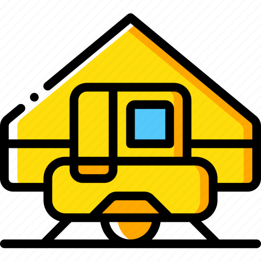 camping, leisure, outdoors, recreation, tent, trailer, travel icon