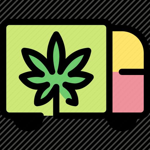 cannabis, delivery, logistic, marijuana, truck, vehicle icon