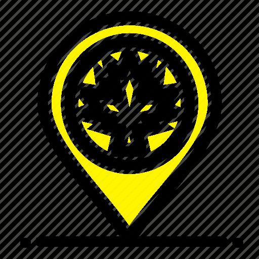 canada, leaf, location, map icon