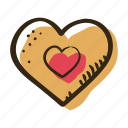 candy, gingerbread, gingerbread heart, heart, sugar, sweet, sweets icon