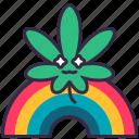 cannabis, marijuana, plant, leaves, drug, rainbow, happy