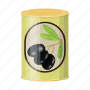 can, canned food, food, olive, package, packaging icon