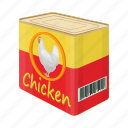 can, canned food, chicken, food, meat, package, packaging icon