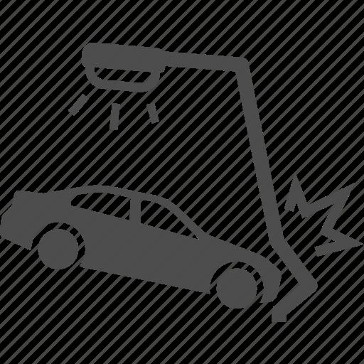 accident, accidents, car, crash, drunk, electric, pole icon