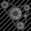 automobile, belt, car, machine, motor, part, pulley icon