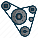 automobile, belt, car, machine, motor, pulley, timing icon