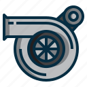 automobile, car, engine, mechanic, power, turbo, turbocharger icon