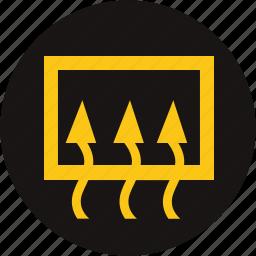 car, defrost, light, rear window, rear window defrost, warning, warning light icon