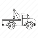 car, line, outline, road, tow, truck, vehicle icon