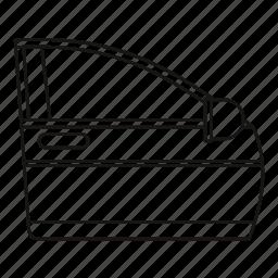 car, door, line, mirror, open, outline, transportation icon