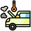 broken, engine, overheat, problem, thermometer, transportation icon