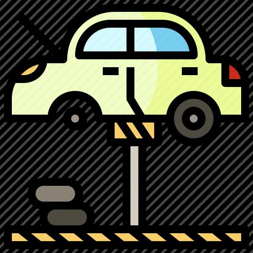 automobile, car, garage, lifter, repair, reparing, transportation icon