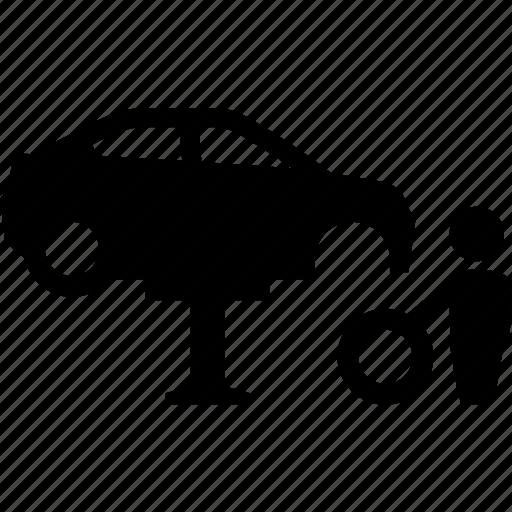 auto, automobile, car, garage, repair, repairman, tire icon