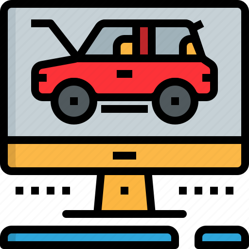 automobile, car, check, computer, garage, program, service icon