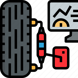 automobile, balancing, center, check, garage, service, tire icon