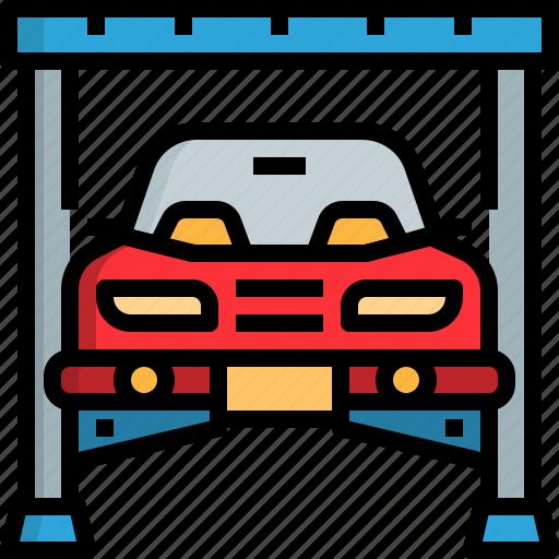 automobile, car, garage, lifter, motor, repairing icon