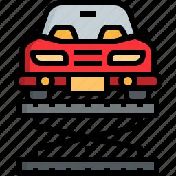 automobile, car, check, garage, lifter, repairing, service icon