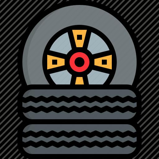 automobile, car, garage, motor, repairing, tire icon