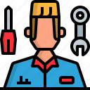 avatar, man, mechanics, people, uniform icon