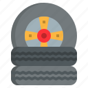 automobile, car, garage, motor, repairing, tire icon