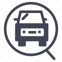 car, cars, find, magnifier, search, service, view icon